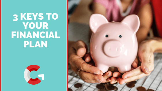 Three Keys to Your Financial Plan, hands holding a piggy bank