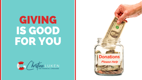 Giving is Good for You, hand putting money in a donation jar
