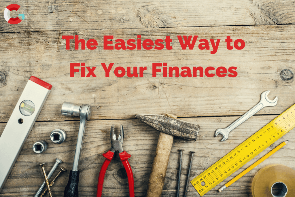 the easiest way to fix your finances, tools on a wooden bench